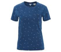 T-Shirt, Gänseblümchen-Print, Brusttasche, Baumwolle, Blau