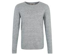 Pullover, Strick, meliert, Rollsäume, Blau