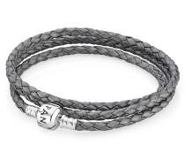 Armband 2-fach Leder grau 590705CSG-D1