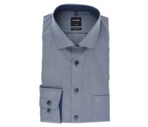 "Businesshemd ""Luxor"", Modern Fit, Kent-Kragen, Brusttasche, diagonal gestreift, Blau"