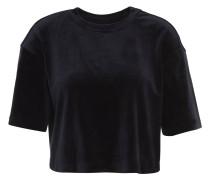 T-Shirt, Rundhalsausschnitt, Samt-Optik, cropped