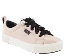 Sneaker, Satin-Optik, Samt-Schnürsenkel, Perlen, Rosa