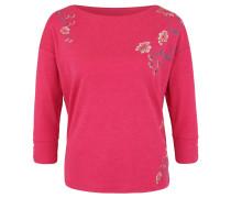 Shirt, 3/4-Arm, florale Stickereien, meliert, Pink