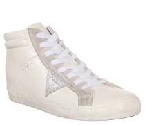 Sneaker, Mid, Leder, zweifarbig, Reißverschluss, Weiß