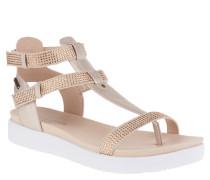 Sandaletten, Zehentrenner, Strass, Klettverschluss, Rosa