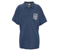 Poloshirt, gemustert, Brusttasche, Große Größen, Blau