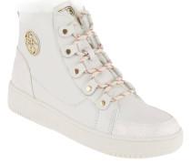 Sneaker, Leder, Marken-Emblem, verdeckter Keilabsatz, Weiß