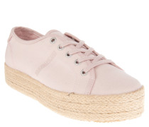Sneaker, Bast-Besatz, Plateausohle, Canvas, Rosa