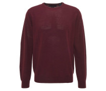 Pullover, uni, Rundhalsausschnitt, Wolle, Rot