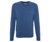 Pullover, V-Ausschnitt, einfarbig, Blau