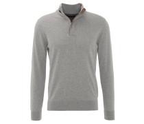 Pullover, Stehkragen, Rippstrick-Bündchen, Grau