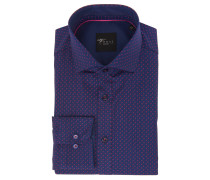 Businesshemd, Slim Fit, gemustert, Blau