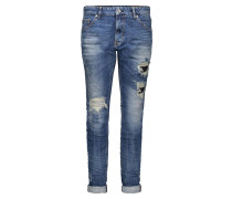 """Jeans """"Girlfriend"""", Vintage-Design, Destroyed-Effekte, Blau"""