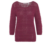 Pullover, uni, 3/4-Arm, Strickmuster, Rot