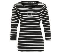 Shirt, 3/4-Ärmel, Streifen-Design, Strass-Dekor, Schwarz
