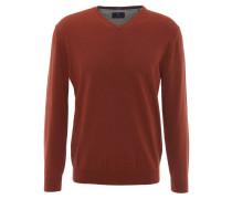 Pullover, uni, V-Ausschnitt, Woll-Anteil, Rot