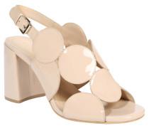 Sandaletten, Kreis-Design, Blockabsatz, Lackleder, Beige