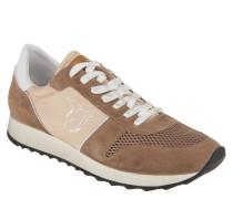 Sneaker, Materialmix, Mesh-Elemente, breite Sohle, Braun