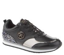 Sneaker, Metallic-Optik, Marken-Emblem, Strass-Besatz, Bicolor