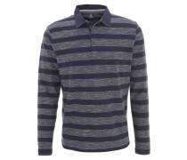 Poloshirt, Langarm, Streifen, Baumwolle, Blau