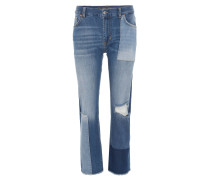 "Jeans ""Giuly"", 7/8-Länge, Patchwork-Stil, Straight Fit, Blau"