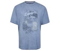 T-Shirt, Print, Melange, Große Größen, Blau