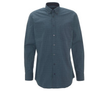 Freizeithemd, Modern Fit, geometrische Musterung, Brusttasche, Grün