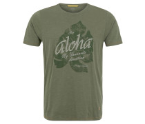T-Shirt, Melange, Print, Oliv