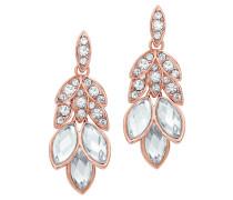 Ohrhänger mit weißen Kristallen rosevergoldet