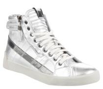 Sneaker, hoch, Reißverschluss, glänzend, Silber
