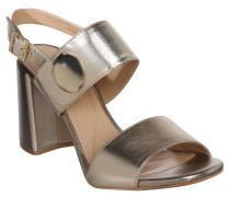Sandaletten, Blockabsatz, Niete, glänzend, Gold