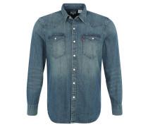 Freizeithemd, Jeans, abgerundeter Saum, Wascheffekte, Blau