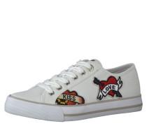 Sneaker, Print, breite Sohle, Ziernaht, Weiß
