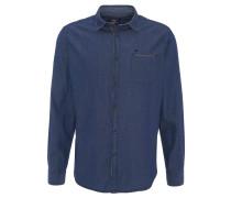 Freizeithemd, Kent-Kragen, Kontrast-Nähte, Brusttasche, Blau