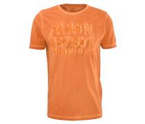 T-Shirt, gummierter Print, Washed-Out-Effekt, Orange