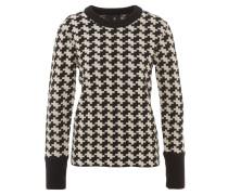 Pullover, Woll-Anteil, Jacquard-Muster, breiter Ärmelbund, Weiß