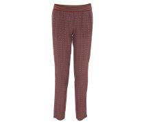 Hose, Allover-Muster, elastischer Bund, Rot