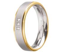 Damenring Titan mit Diamanten Bicolor vergoldet 0134-4