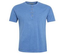 T-Shirt, Henly-Stil, Logo-Stickerei, Blau
