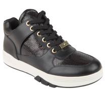 Sneaker, Reptilien-Optik, glänzend, Leder, Schwarz