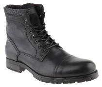 Stiefel, uni, Leder, Profilsohle, Reißverschluss, Schwarz