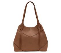 Handtasche, Leder, Zierfransen, Beige