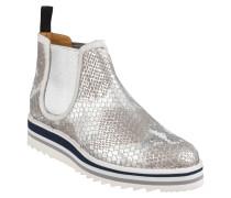 Chelsea-Boots, Leder, Schlangen-Optik, Plateau-Sohle, Silber
