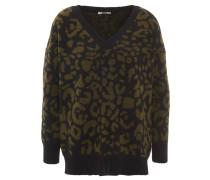Pullover, Leoparden-Design, Oversize-Look, Grün