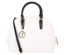 Handtasche, Saffiano, Kontrast-Henkel, Prägung, Weiß