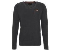 Pullover, Strick, Tasche, V-Ausschnitt, Baumwolle, Grau