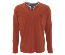 Langarmshirt, Henley-Stil, Lagen-Optik, Emblem, Baumwolle, Orange