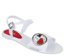 Sandalen, Logo-Emblem, flexibel, Weiß