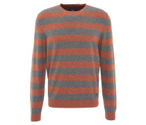Pullover, gestreift, meliert, formgebende Rippbündchen, Baumwolle, Orange