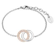 Armband mit Kreisen Bicolor 2015120 Zirkonia und Edelstahl